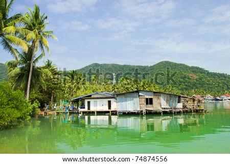 Bang Bao Bay on Ko Chang island floating village rural scenery in Thailand.