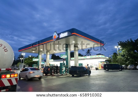 Bang Yai Nonthaburi April 26, 2017 Gas station for sale oil, energy business Long in Thailand