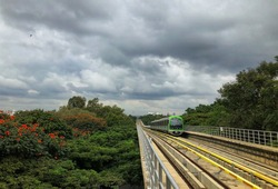 Bangalore metro front view landscape greenery cloudy day HDR view
