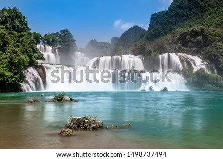 Bangioc / ban gioc or Detian waterfall in Cao bang, north Vietnam. These falls form the natural border between Vietnam and China. Slow shutterspeed silky smooth waterfalls.
