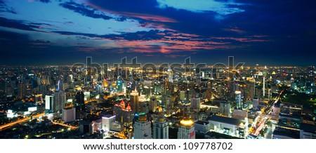 Bangkok above view at night, Thailand