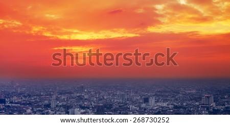 Bangkok aerial city view at sunset, Thailand #268730252