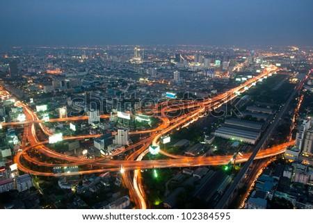 Bangkok and express way view point from Baiyok building. - stock photo