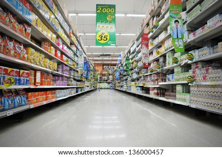 BANGKOK - APRIL 14: Aisle view of a Tesco supermarket on April 14, 2013 in Bangkok, Thailand. Tesco is the world's second largest retailer with 6,531 stores worldwide and a revenue of �£65bn in 2012.