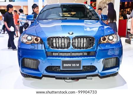 BANGKOK - APRIL 8: BMW X6 M on display in Challenger Hall, Impact Muangthong Thani,The 33 rd Bangkok International Motor Show in Bangkok,Thailand on April 8, 2012.