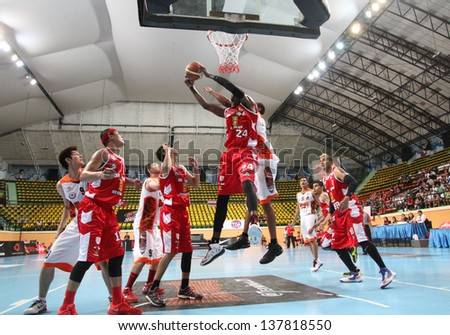 BANGKOK - APRIL 24:Justin Williams #24 rebound ball compete with Sports REV Thailand Slammers in an ASEAN Basketball League \