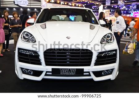 BANGKOK - APRIL 8: Porsche car modify from TechArt on display in Challenger Hall, Impact Muangthong Thani,The 33 rd Bangkok International Motor Show in Bangkok,Thailand on April 8, 2012.