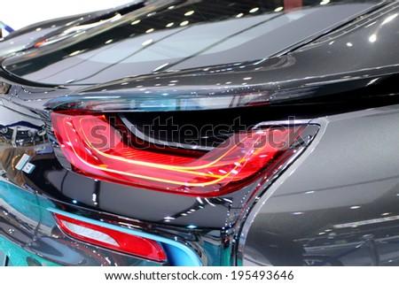 Bangkok - April 2 :Tail light of  BMW series I8 innovation car - in display at 35th Bangkok International  Motor Show 2014 on April 2,2014 in Bangkok Thailand