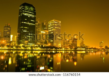 Bangkok at twilight time with water