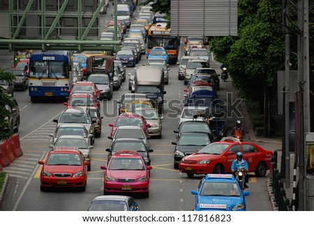 BANGKOK - AUG 23: Daily traffic jam in the afternoon on August 23, 2009 in Bangkok, Thailand. Traffic jams remains constant problem in Bangkok despite rapid development of public transportation system