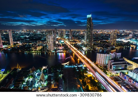 BANGKOK, August 22 : Bangkok view from abandon tower on August 22, 2015. Bangkok is the capital and the most populous city of Thailand. It is known in Thai as Krung Thep Maha Nakhon. #309830786