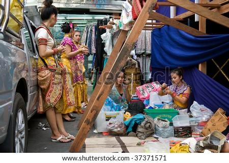 BANGKOK - AUGUST 12: Queen Sirikit's Birthday festival, traditional dance preparation August 12, 2009 in Bangkok, Thailand. - stock photo