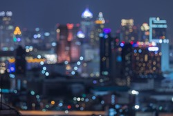 Bangkok blurred abstract background lights, beautiful cityscape view