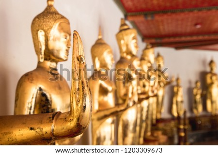 Bangkok Buddha statues in temples. Temples of Thailand #1203309673
