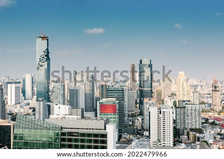 Bangkok Business Downtown and Financial District City of Thailand, Bangkok Cityscape Scenery and Skyscrapers Tower Building Capital City of Thailand. Aerial View Skyline Modern Architecture of Bangkok