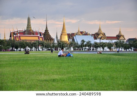 Bangkok - Circa Nov 2014: People Are Sitting In Sanam Luang In The Front Of W...