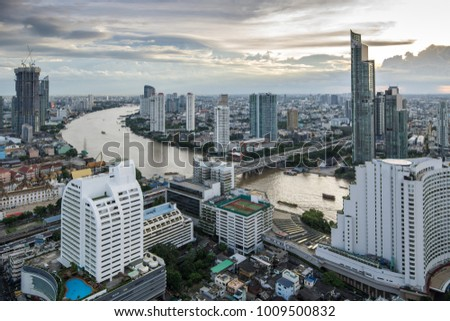 Bangkok City - Aerial view  Chao Phraya River Bangkok city urban downtown skyline of Thailand , Cityscape Thailand #1009500832