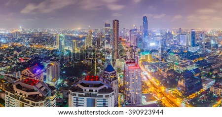Bangkok city at colorful nightlife, This is a largest city in Southeast Asia and this is shopping center. Zdjęcia stock ©