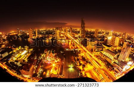 Bangkok City at night time, Hotel and resident area in the capital of Thailand #271323773