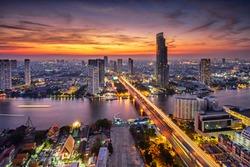 Bangkok city at sunset (Taksin Bridge)