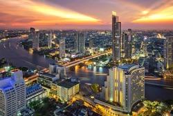 Bangkok city at sunset (Taksin Bridge), Thailand