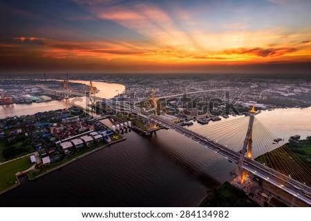 Bangkok City - Beautiful sunset view of Bhumibol Bridge,Thailand