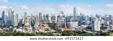Bangkok city buildings cityscape, high buildings panorama downtown of Bangkok City Thailand #691571617