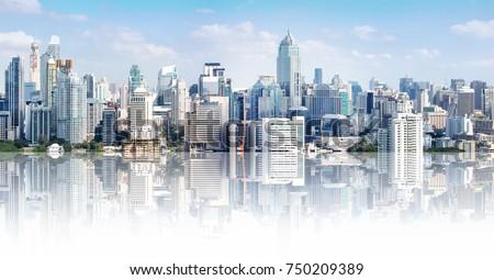 Bangkok city buildings cityscape, high buildings panorama downtown of Bangkok City Thailand. Modern buildings and high towers in Bangkok downtown. Bangkok Thailand beautiful landmark. #750209389