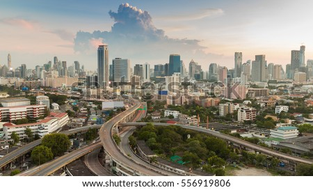 Bangkok city central business downtown with highway interchanged, aerial view #556919806