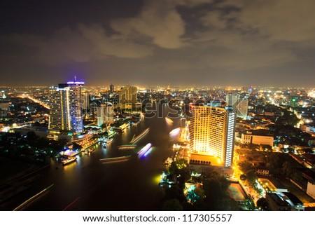Bangkok city downtown top View at Night from top of Thailand