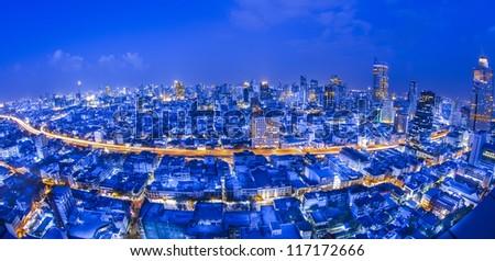 Bangkok city night view with fish eye lens.