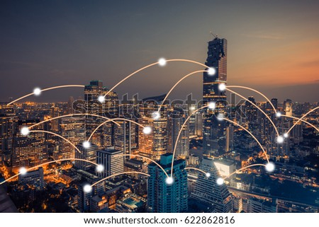 Bangkok city scape and network connection concept #622862816