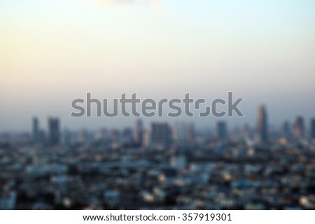 Bangkok city skyline, Aerial view of Bangkok downtown at evening Blurred background #357919301