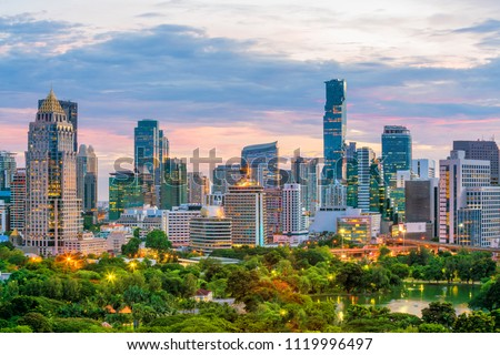 Bangkok city skyline with Lumpini park  from top view in Thailand at sunset #1119996497