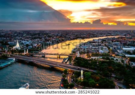 bangkok city sunset  Chao Phraya River