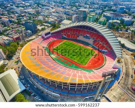 Bangkok city, Thailand - March 2017: Bird's eye view or high angle aerial view of Rajamangala Stadium in Bangkok city.