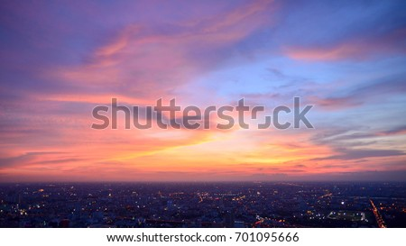 Bangkok city (Thailand) with beautiful sky. Bangkok at night time.  #701095666