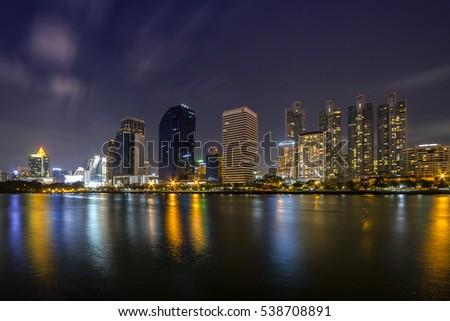 Bangkok city view at night from Benchakitti Park #538708891