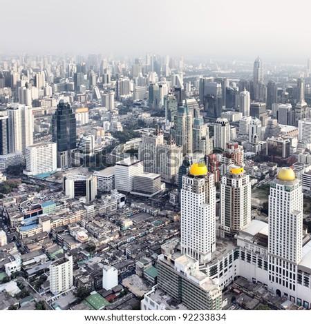 Bangkok city view from above, Thailand. - stock photo