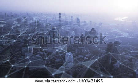 Bangkok city with connection polygonal line Futuristic digital technology concept