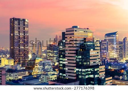 Bangkok cityscape at twilight, Thailand #277176398