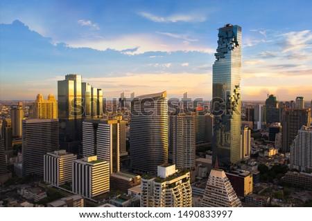 Bangkok Cityscape, Business district with high building at dusk (Bangkok, Thailand)