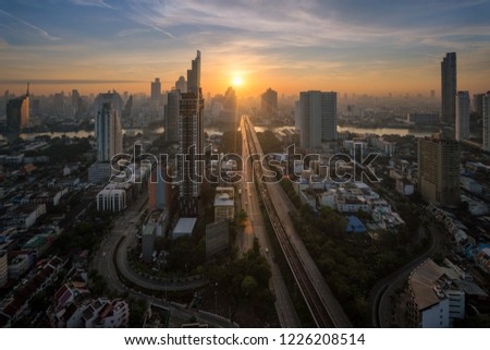 Bangkok cityscape sunrise from the top of Building #1226208514