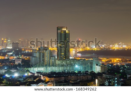 Bangkok cityscape which can see river view at twilight, thailand
