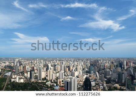 Bangkok cityscape with blue sky and clouds