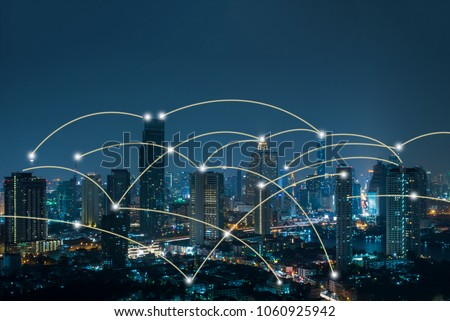 Bangkok cityscape with network connection concept #1060925942