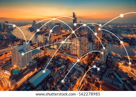 Bangkok cityscape with network connection concept,internet of thing concept