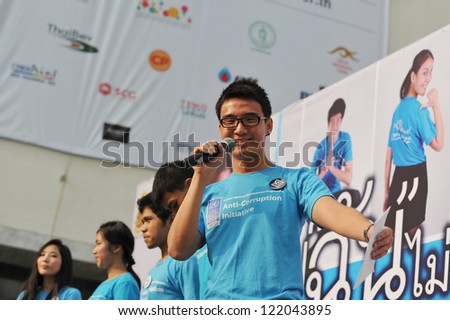 BANGKOK - DEC 9: An anti-corruption campaigner gives a speech to a rally during Thai Anti-Corruption Day organised by the United Nations Development Programme on Dec 9, 2012 in Bangkok, Thailand.