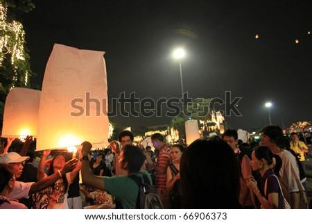 BANGKOK - DEC 5: Burning Lantern at the King's Birthday Celebration on December 5, 2010 in Bangkok, Thailand