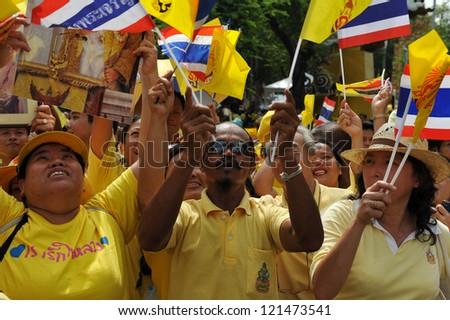 BANGKOK - DEC 5: Royalists celebrate the 85th birthday of Thai King Bhumibol Adulyadej while attending celebrations on the Royal Plaza on Dec 5, 2012 in Bangkok, Thailand.